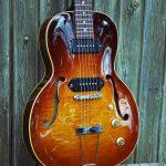 "Leone guitare y koch yohann luthier parlor hollow body guitar electric guitares archtop électrique small guitares demie demi caisse archtop 14"" beziers narbonne herault"